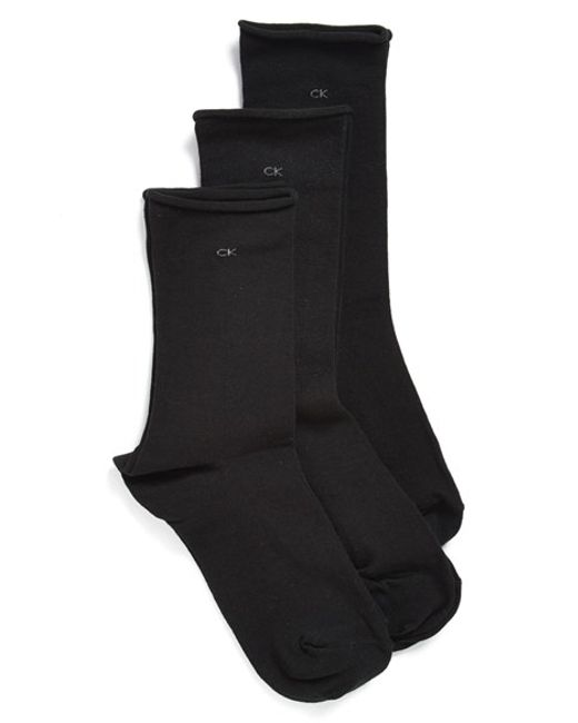 Calvin Klein | Black Roll Top Crew Socks | Lyst