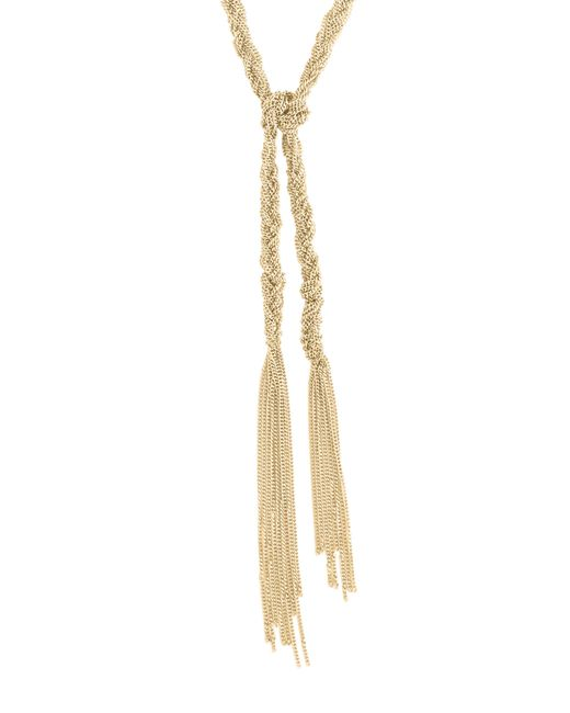 BCBGeneration   Metallic Knotted Long Length Lariat Necklace   Lyst