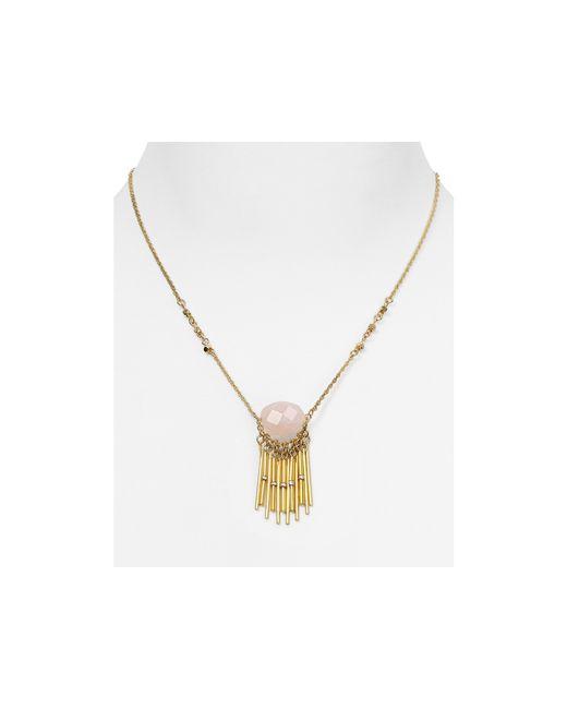 "Aqua | Pink Tessie Stone Fringe Pendant Necklace, 17.5"" | Lyst"