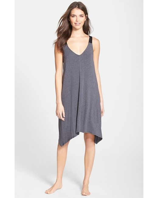 DKNY | Gray 'urban Essentials' Jersey Chemise | Lyst