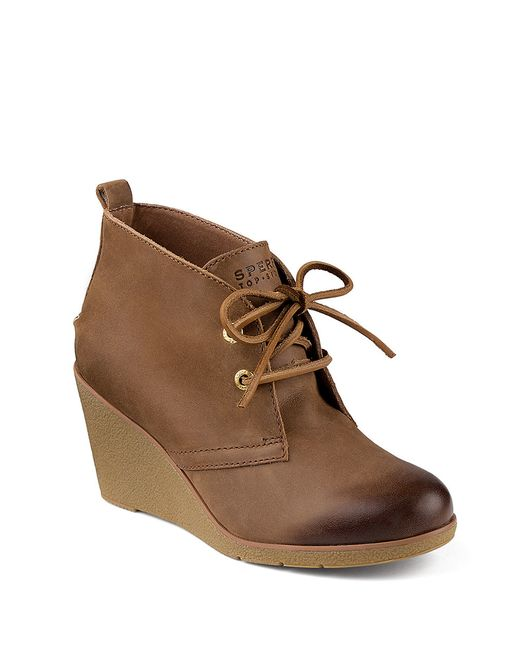 sperry top sider harlow ankle boot in brown cognac