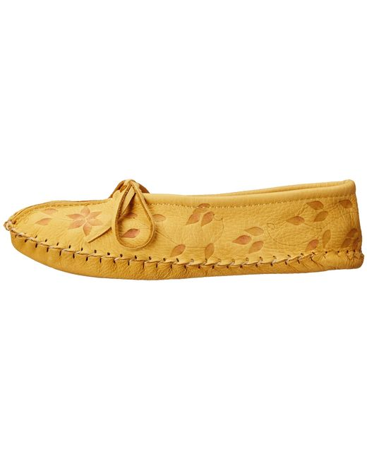 Manitobah Mukluks Deerskin Slipper Floral Design In Brown