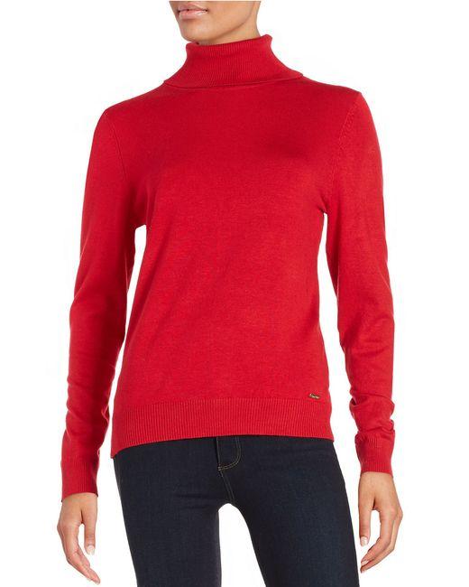 Calvin Klein   Red Ribbed Fine Gauge Turtleneck Sweater   Lyst