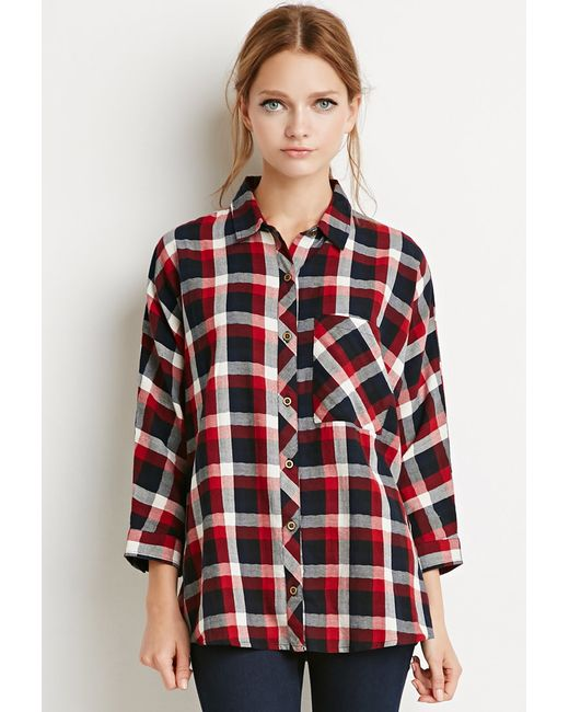 Forever 21 | Red Boxy Plaid Shirt You've Been Added To The Waitlist | Lyst