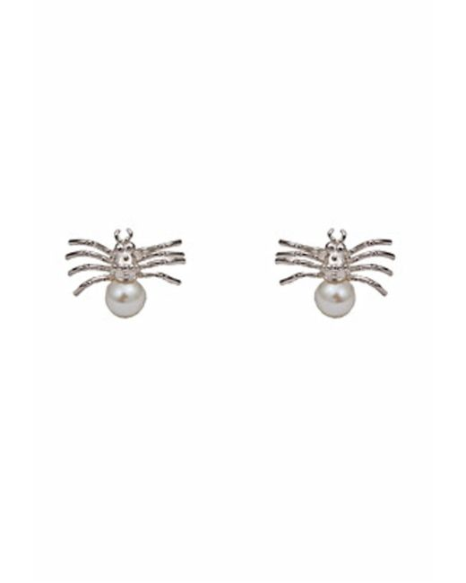Bernard Delettrez | Metallic Silver Spider With Pearl Earrings | Lyst