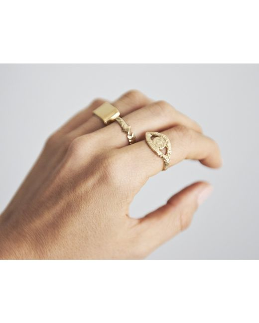 Sabrina Dehoff | Metallic Chunky Round Square Stacking Ring | Lyst