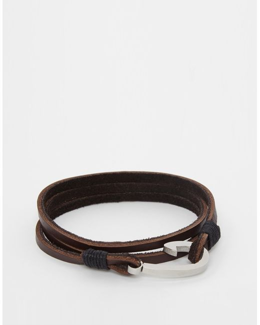 Seven London | Brown Hook Leather Wrap Bracelet In Tan Exclusive To Asos for Men | Lyst
