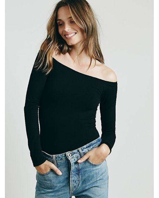 Free People   Black Off The Shoulder Solid Top   Lyst