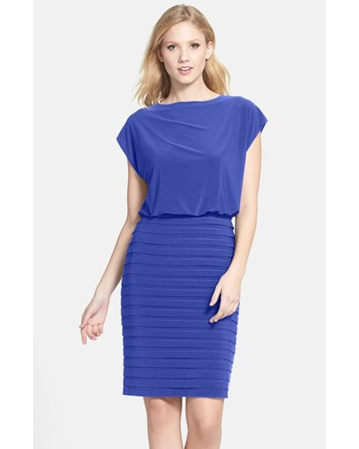 Adrianna Papell   Blue Pleated Jersey Blouson Dress   Lyst