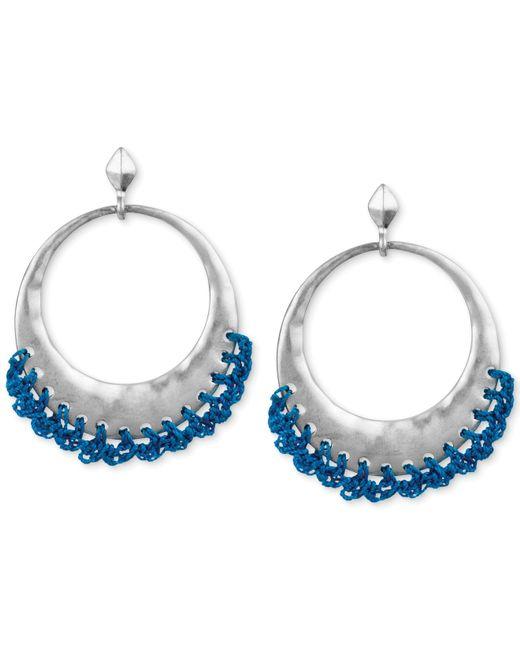The Sak   Metallic Silver-tone Blue Crochet-edged Hoop Earrings   Lyst