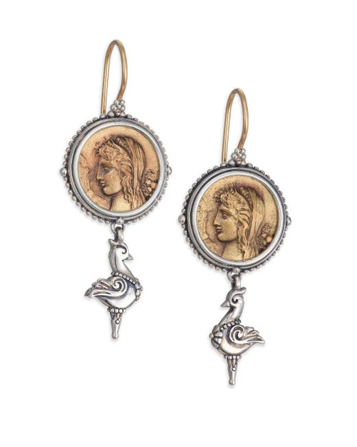 Konstantino   Metallic Kerma Bronze & Sterling Silver Coin Drop Earrings   Lyst