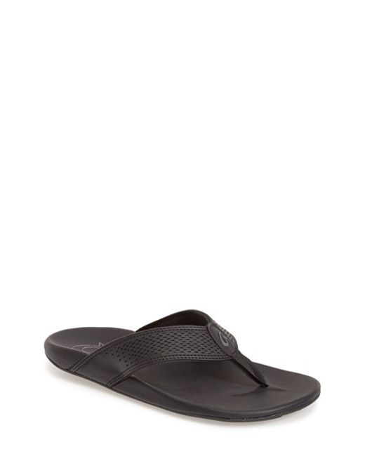 Olukai | Black 'kekoa' Water Resistant Perforated Flip Flop for Men | Lyst
