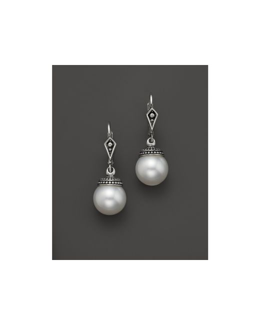 Lagos | White Sterling Silver Luna Freshwater Cultured Pearl Drop Earrings | Lyst