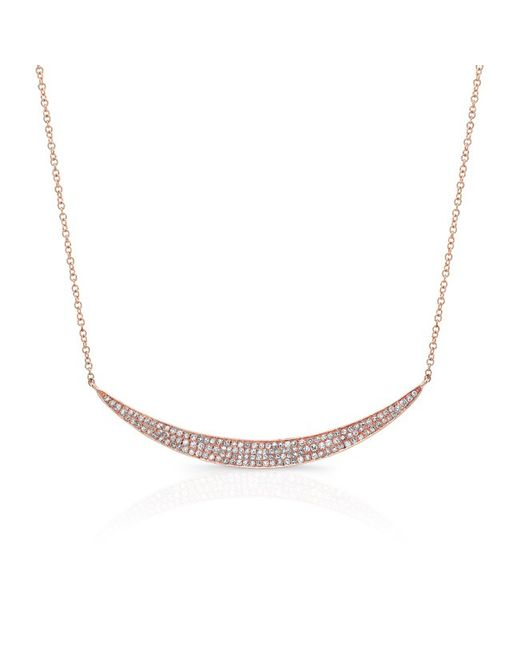 Anne Sisteron | Metallic 14kt Rose Gold Diamond Wide Crescent Necklace | Lyst