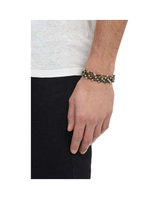 Feathered Soul | Metallic Pyrite Bead & Braided Silk Wrap Bracelet for Men | Lyst
