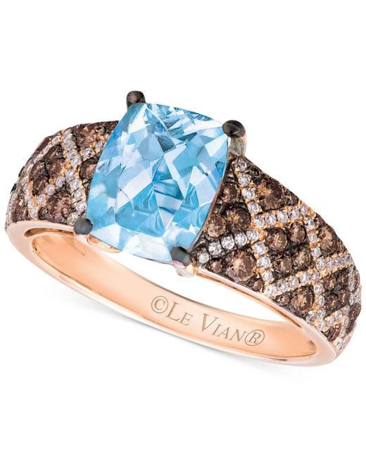 Le Vian | Blue Aquamarine (1-1/2 Ct. T.w.) And Diamond (5/8 Ct. T.w.) Ring In 14k Rose Gold | Lyst