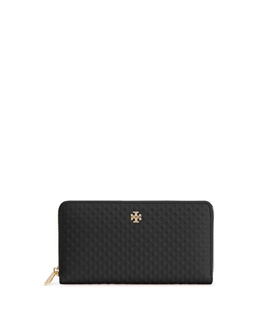 Tory Burch | Black Marion Diamond-Embossed Leather Wallet | Lyst