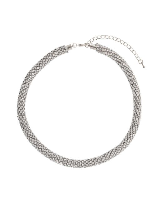 Mikey | Metallic Metal Chain Crystal Cylinder Necklace | Lyst