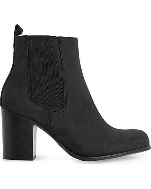 dune prynn leather heeled chelsea boots in black black