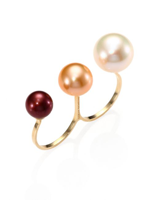 Delfina Delettrez | White Never Too Light 9mm-11.5mm Tricolor Round Pearl Double Ring | Lyst
