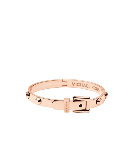 Michael Kors | Pink Astor Rose Gold-tone Buckle Bangle | Lyst