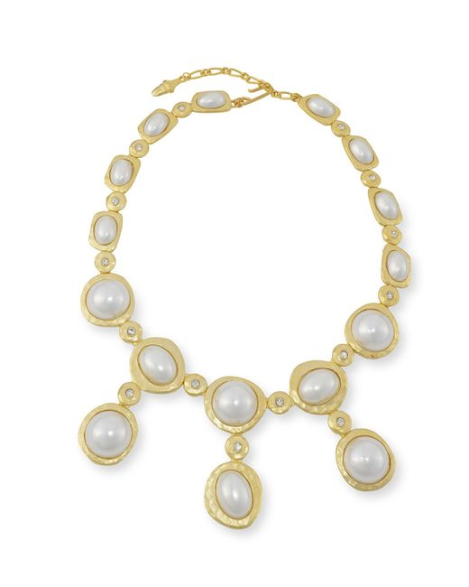 Kenneth Jay Lane | Metallic White Pearl Drop Necklace | Lyst