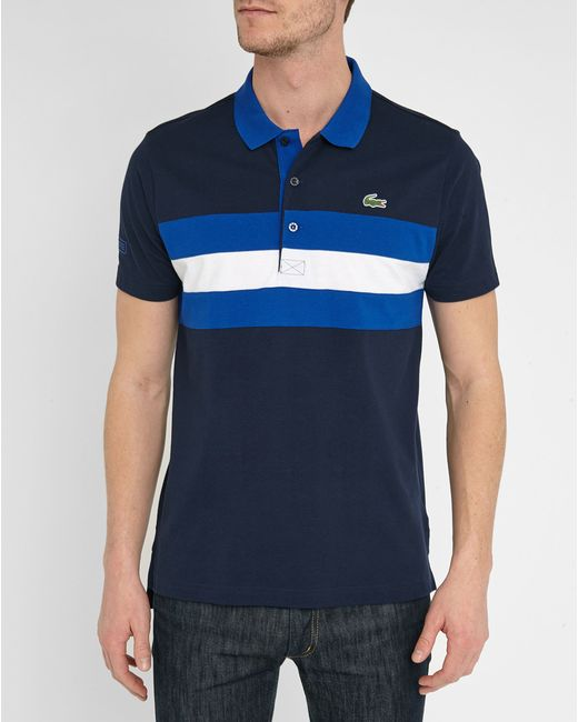 Lacoste Navy Sport Piqu Polo Shirt With Royal Blue White