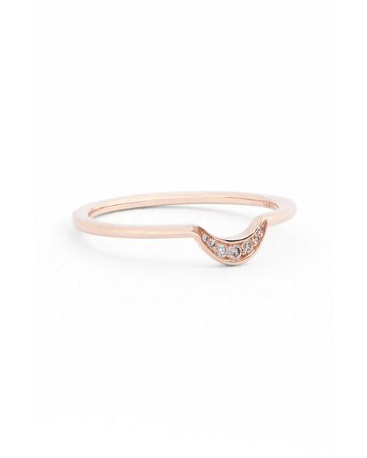 Anna Sheffield | Pink 'tiny New Moon' Diamond Ring | Lyst
