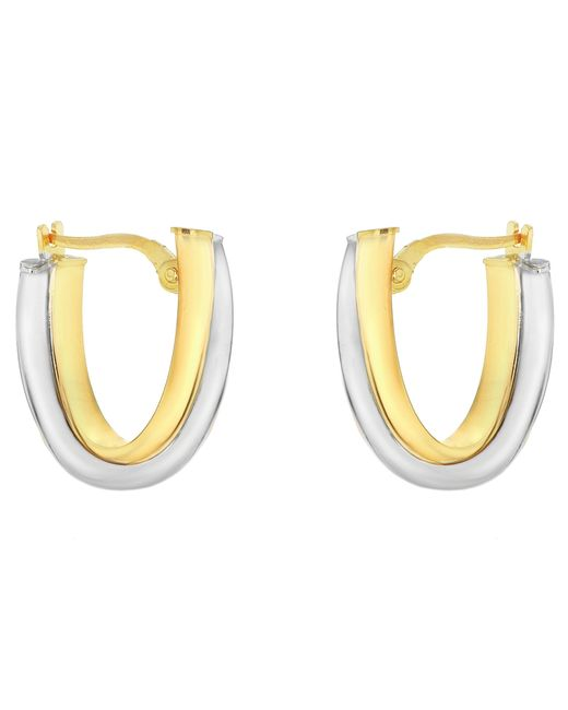 Ib&b | Metallic 9ct Gold 2 Tone Crossover Huggy Earrings | Lyst