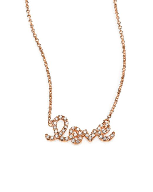 Sydney Evan | Pink Diamond & 14k Rose Gold Small Love Necklace | Lyst