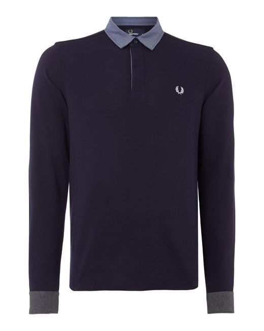 Fred Perry | Blue Long Sleeve Woven Trim Pique Polo Shirt for Men | Lyst
