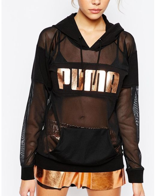 puma oversized sheer mesh hoodie with rose gold logo in
