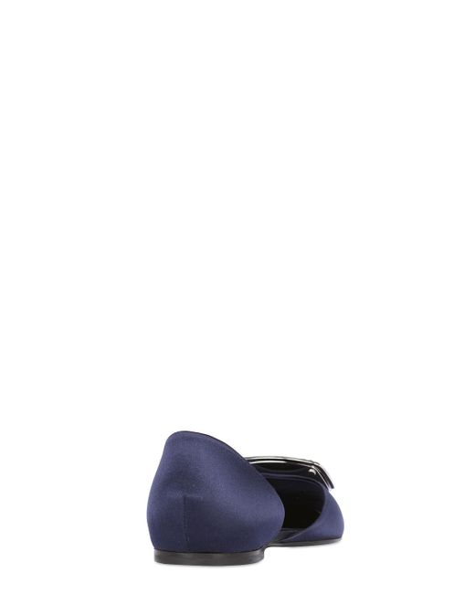 Roger Vivier | Blue Satin Ballerine Chips D'orsay Flat | Lyst