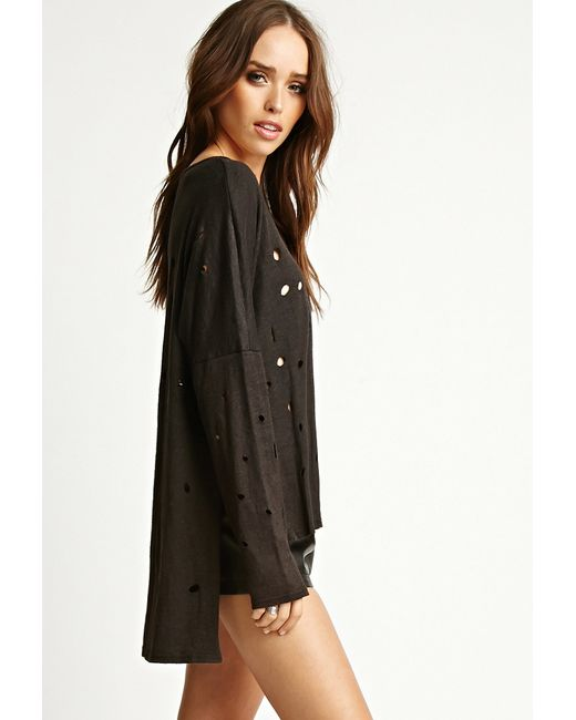 Forever 21 | Black Nytt Distressed Side-slit Top | Lyst