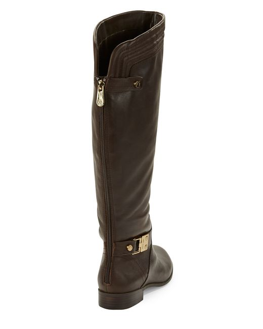 Anne Klein | Brown Kaydon Wide Calf Leather Boots | Lyst