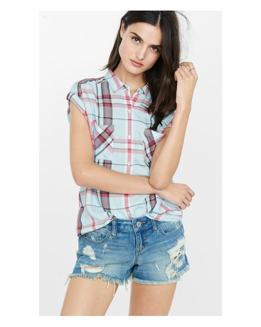 Express light blue and red plaid cap sleeve shirt in blue for Red white and blue plaid shirt