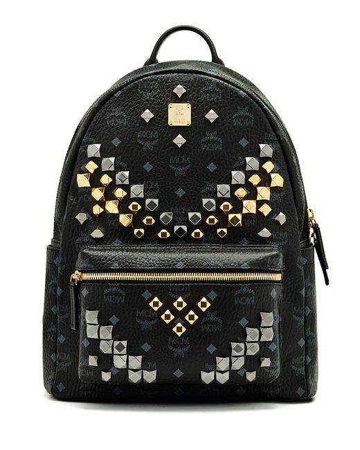 mcm stark m stud medium backpack in black for men