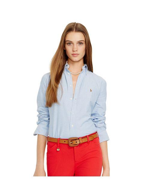 Polo Ralph Lauren | Blue Custom Fit Cotton Oxford Shirt | Lyst