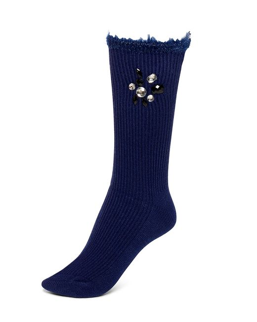 Hue | Blue Jeweled Crew Socks | Lyst