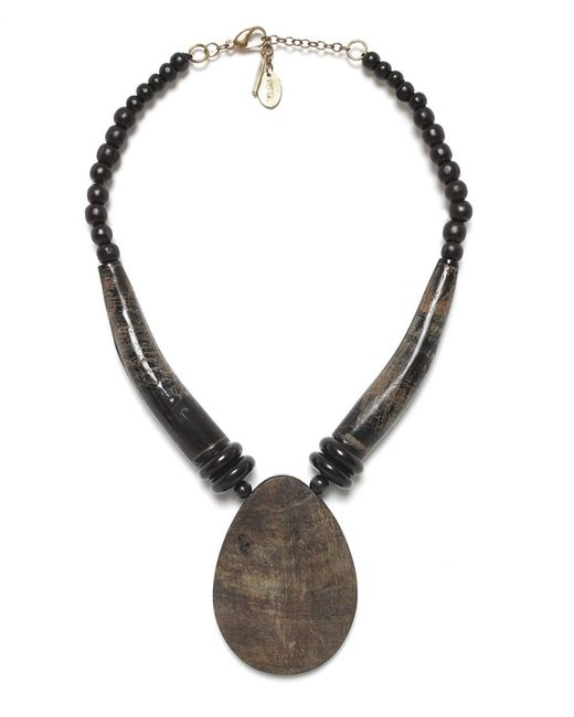 Jules B | Black Oval Horn Necklace | Lyst