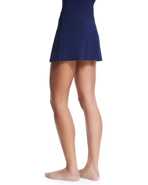 karla colletto flared swim skirt in blue lyst
