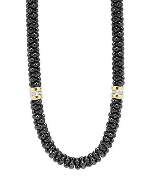 Lagos | 'black Caviar' 7mm Beaded Diamond Station Necklace | Lyst