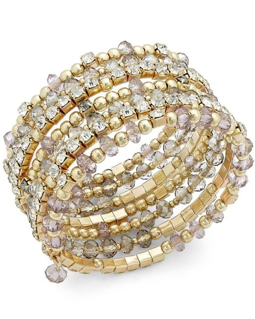 INC International Concepts | Metallic Gold-tone Black And Metal Bead Coil Bracelet, Only At Macy's | Lyst