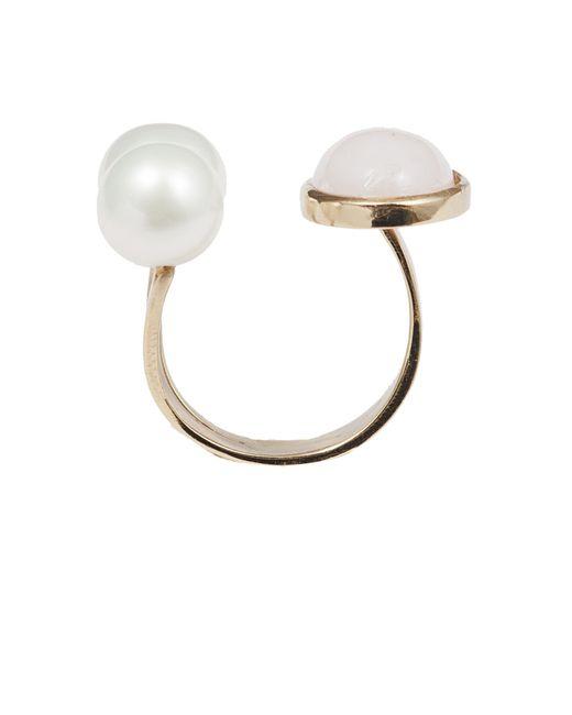 Bernard Delettrez | Metallic Pink Opal And Pearls Bronze Ring | Lyst