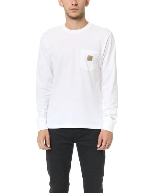 Carhartt wip long sleeve pocket tee in white for men lyst for Carhartt long sleeve t shirts white