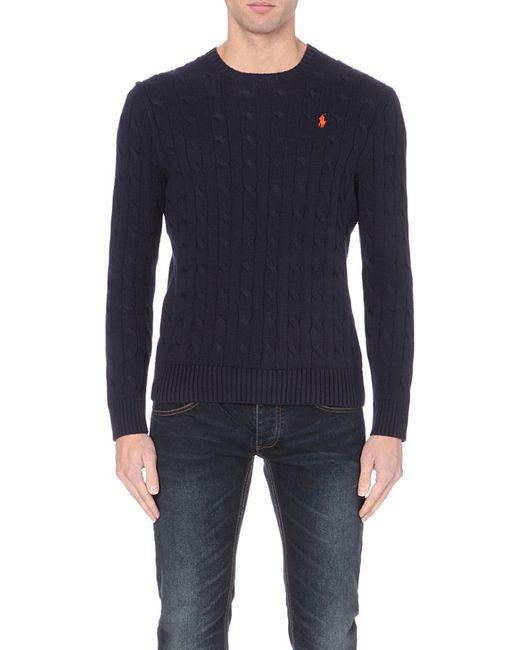 Ralph Lauren | Blue Cable-knit Cotton Jumper for Men | Lyst