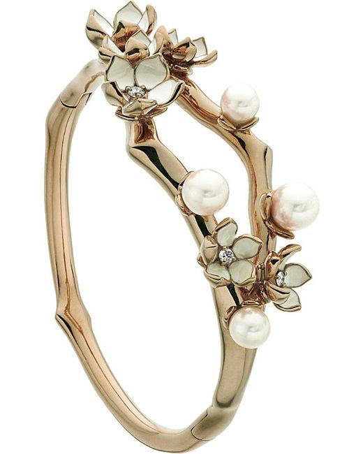 Shaun Leane | Metallic Cherry Blossom Rose-gold Vermeil, Ivory Enamel, Pearl And Diamond Cuff | Lyst
