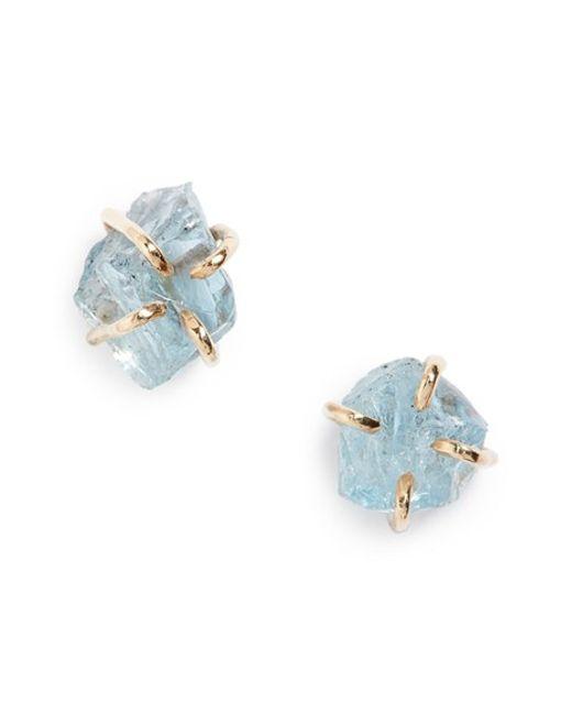 Melissa Joy Manning | Blue Raw Aquamarine Stone Stud Earrings | Lyst