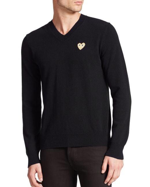 Play Comme des Garçons | Black Small Emblem V-neck Sweater for Men | Lyst