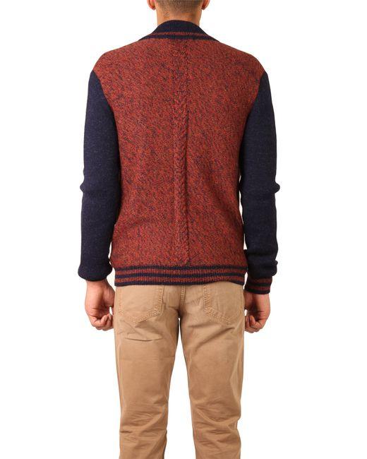 Monsieur lacenaire Knitted Varsity Jacket in Brown for Men (rust) Lyst